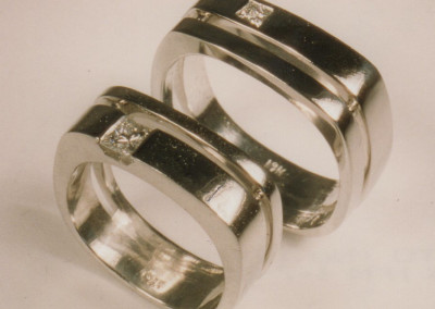 0091 His & Her's Diamond White Gold Wedding Rings
