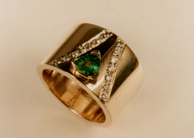 0201 Emerald Diamond Ladies Ring