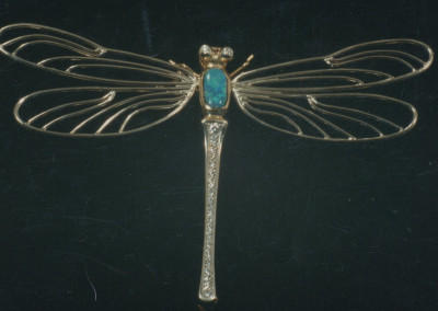 0272 Gold Dragonfly Brosche w Diamonds & Torquoise Brooche
